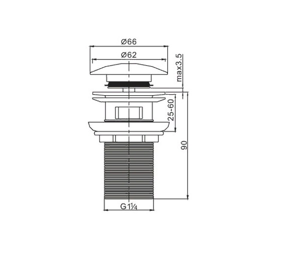 cezares Донный клапан CEZARES CZR-SAT6-01 с переливом хром