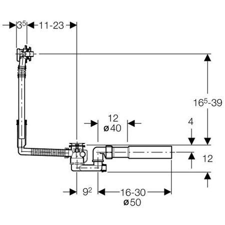 geberit 150.017.00.1 Geberit Wings Гарнитур сливной-переливной для стандартных ванн с пробкой на цепочке