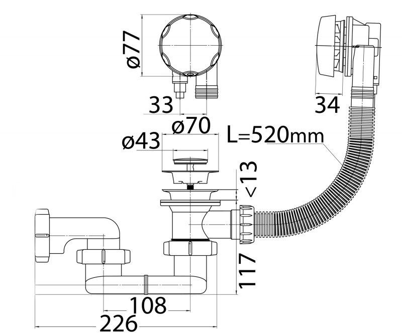 cezares Слив-перелив Cezares CZR-STP1-01 52 см хром