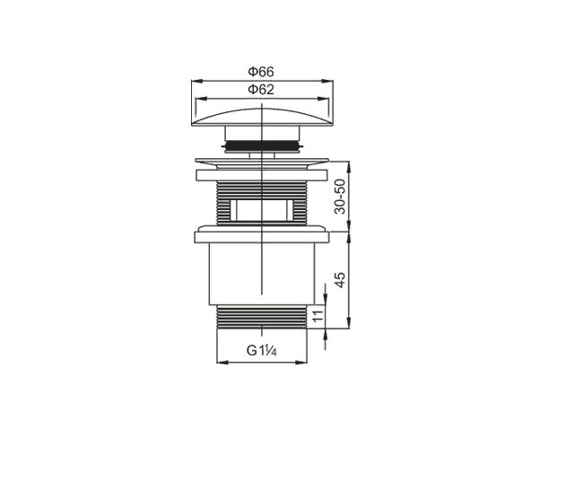 cezares Донный клапан CEZARES CZR-SAT5-01 с переливом хром